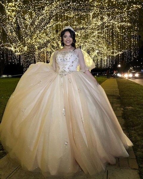 Beautiful Bateau Tulle Ball Gown Quinceanera Dress_2