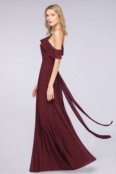 A-line Chiffon Spaghetti-Straps Sleeveless Ruffles Floor-Length Bridesmaid Dress with Bow Sash_4