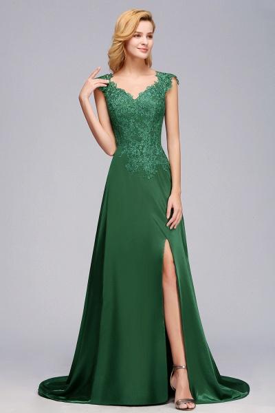 BM0796 A-line Lace Front-Slit Long Bridesmaid Dress_5