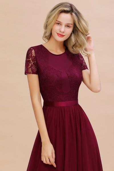BM0831 Chiffon Lace Scoop Short Sleeve Bridesmaid Dress_8