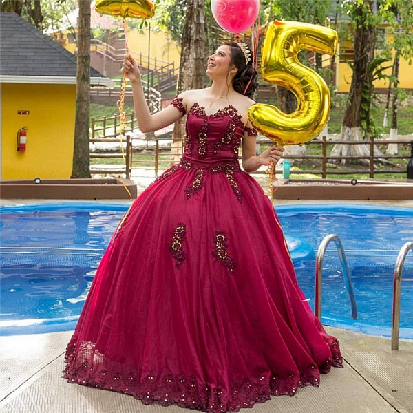 Fascinating Off-the-shoulder Tulle Ball Gown Quinceanera Dress_1