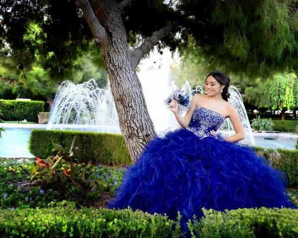 Graceful Strapless Tulle Ball Gown Quinceanera Dress_3