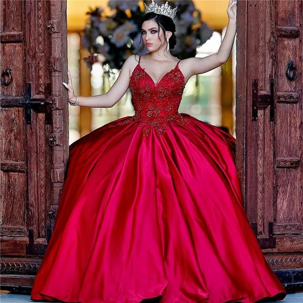 Beautiful Spaghetti Straps Satin Ball Gown Quinceanera Dress_1