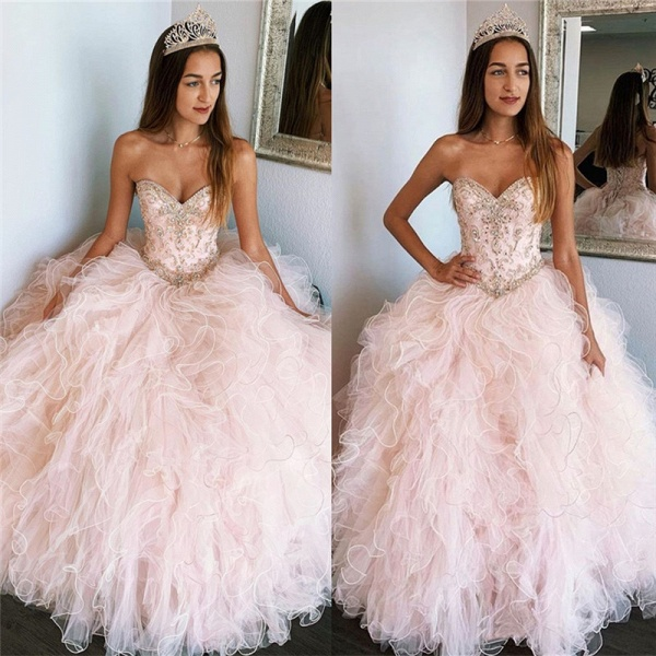 Affordable Sweetheart Tulle Ball Gown Quinceanera Dress_1