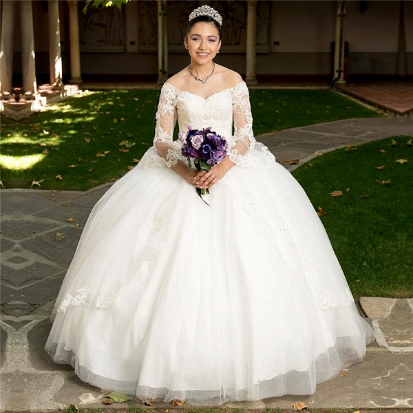Glorious Off-the-shoulder Tulle Ball Gown Quinceanera Dress_1