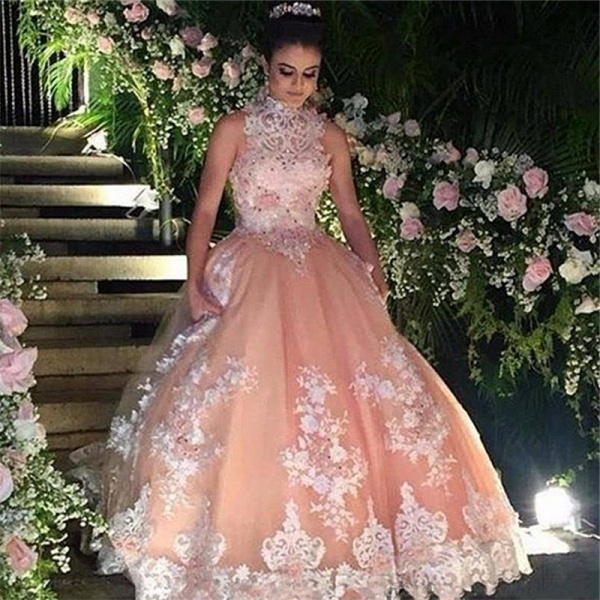 Wonderful High Neck Tulle Ball Gown Quinceanera Dress_1