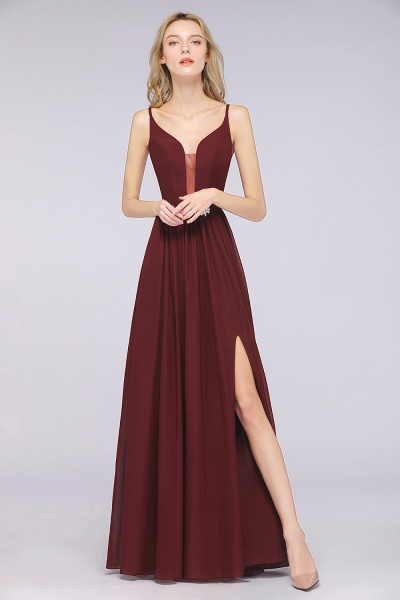 A-Line Chiffon Appliques Spaghetti-Straps Deep-V-Neck Sleeveless Floor-Length Bridesmaid Dress with Ruffles_2