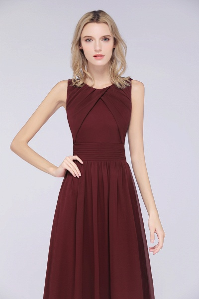 A-Line Chiffon Round-Neck Sleeveless Floor-Length Bridesmaid Dress with Ruffles_6