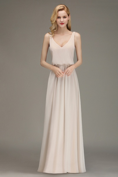 BM0033 Elegant Straps Sexy V-Neck Long Bridesmaid Dress