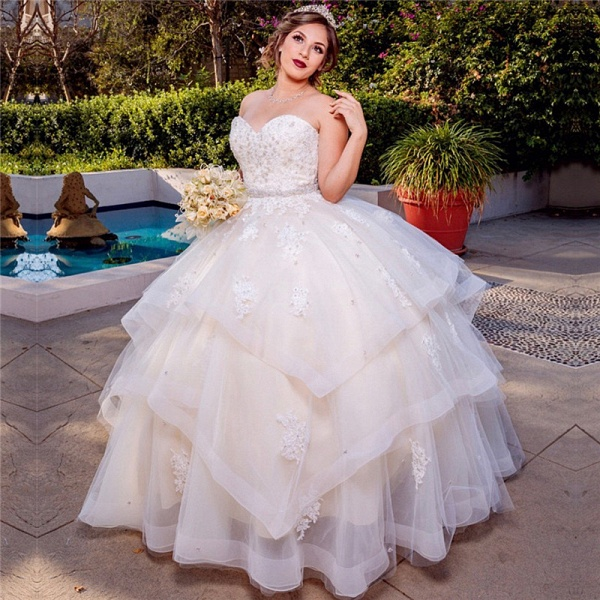 Exquisite Sweetheart Tulle Ball Gown Quinceanera Dress_1