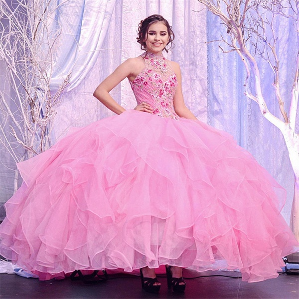 Awesome High Neck Tulle Ball Gown Quinceanera Dress_1