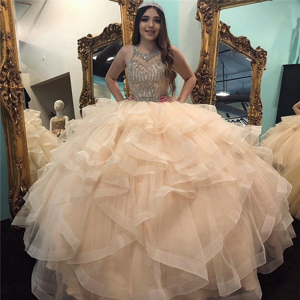 Excellent Jewel Tulle Ball Gown Quinceanera Dress_1