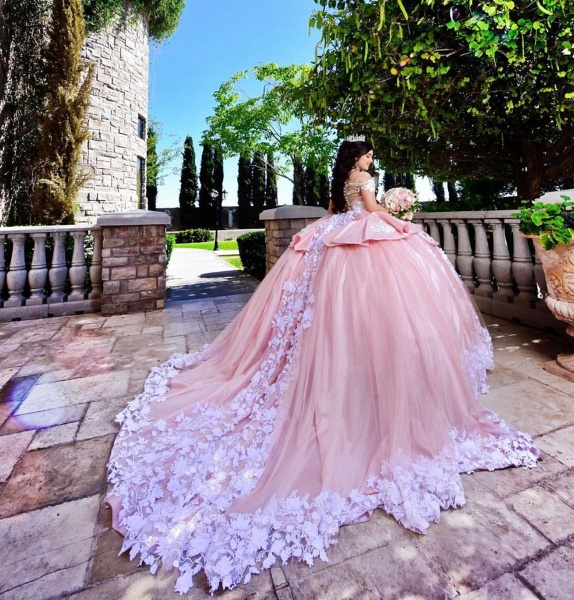 Elegant Off-the-shoulder Tulle Ball Gown Quinceanera Dress_2
