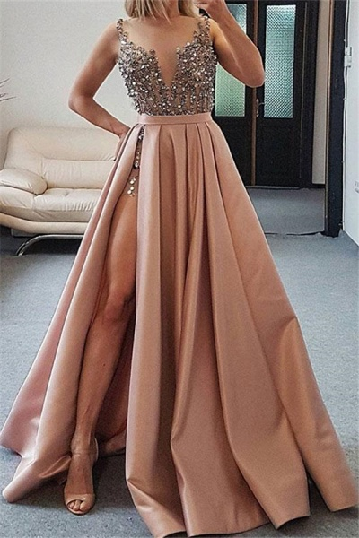 Awesome Spaghetti Straps Split Front A-line Prom Dress_1