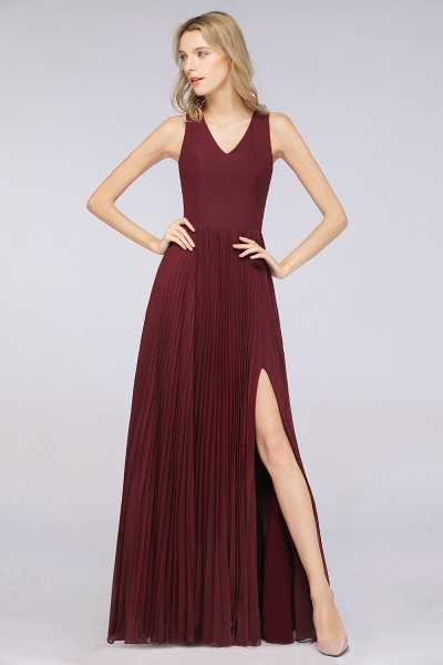 A-Line Satin Chiffon V-Neck Sleeveless Floor-Length Bridesmaid Dress with Ruffles_4