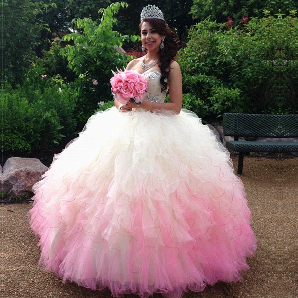 Glorious Sweetheart Tulle Ball Gown Quinceanera Dress_1