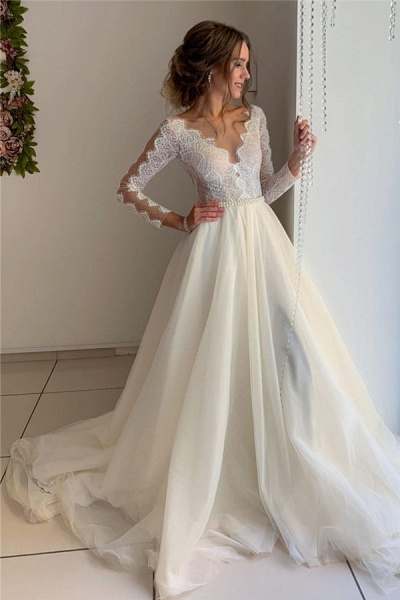Gorgeous Lace V-Neck Long Sleeves A-Line Prom Dress_1