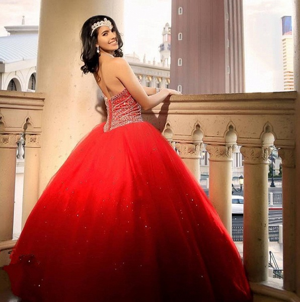 Attractive Sweetheart Tulle Ball Gown Quinceanera Dress_2