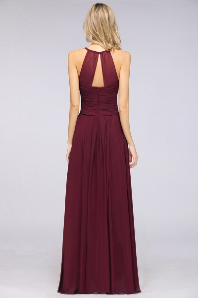 A-Line Chiffon Halter V-Neck Sleeveless Floor-Length Bridesmaid Dress with Ruffles_36