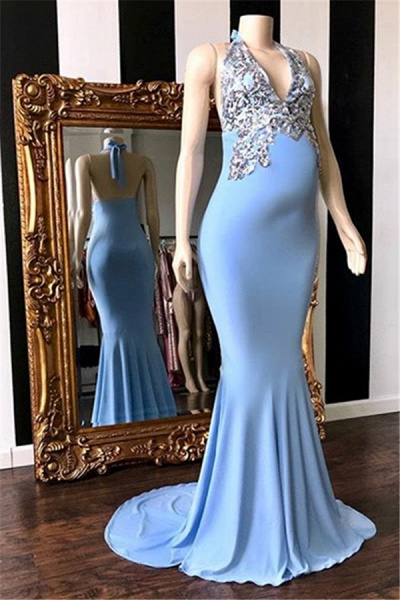 Modest Halter Bow Mermaid Prom Dress_1