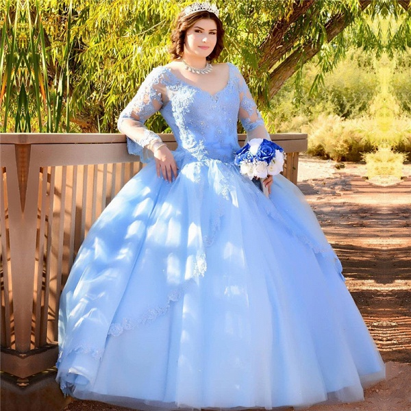 Glorious V-neck Tulle Ball Gown Quinceanera Dress_1