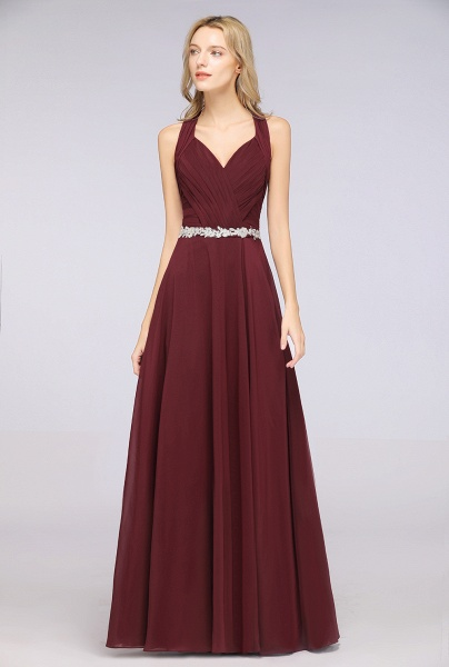 A-Line Chiffon Halter V-Neck Sleeveless Ruffle Floor-Length Bridesmaid Dress with Appliques Sashes_4