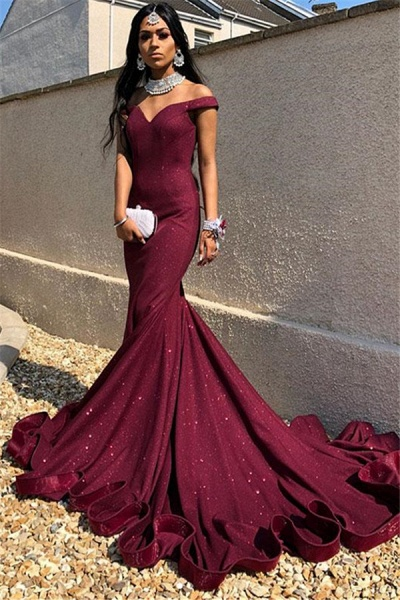 Precious Off-the-shoulder Sequined Mermaid Prom Dress_1