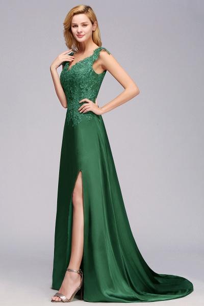 BM0796 A-line Lace Front-Slit Long Bridesmaid Dress_6