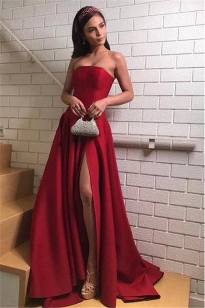 Precious Strapless Split Front A-line Evening Dress_2