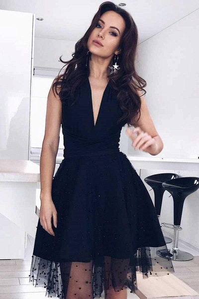 Black Tulle Deep-V-Neck Sleeveless Homecoming Dress_2