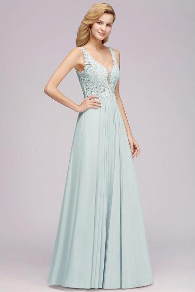 BM0833 Sexy Chiffon Beaded Lace V-Neck Sleeveless Long Bridesmaid Dress_4