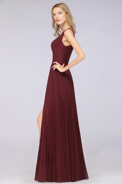 A-Line Satin Chiffon V-Neck Sleeveless Floor-Length Bridesmaid Dress with Ruffles_6