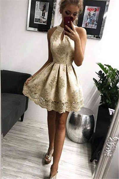 Elegant Halter Appliques Sleeveless Short Home-Coming Dress_1