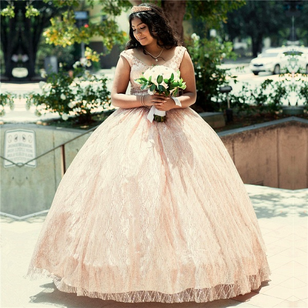 Marvelous Lace Scoop Ball Gown Quinceanera Dress_1
