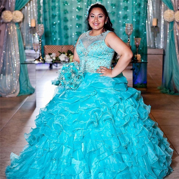 Attractive Jewel Tulle Ball Gown Quinceanera Dress_1