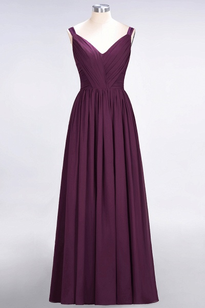 A-Line Chiffon Straps V-Neck Sleeveless Backless Floor-Length Bridesmaid Dress with Ruffles_19