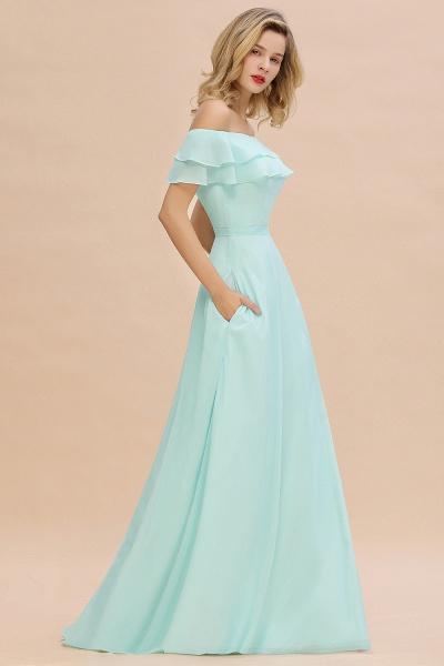BM0775 Off-the-Shoulder Front Slit Mint Green Long Bridesmaid Dress_6