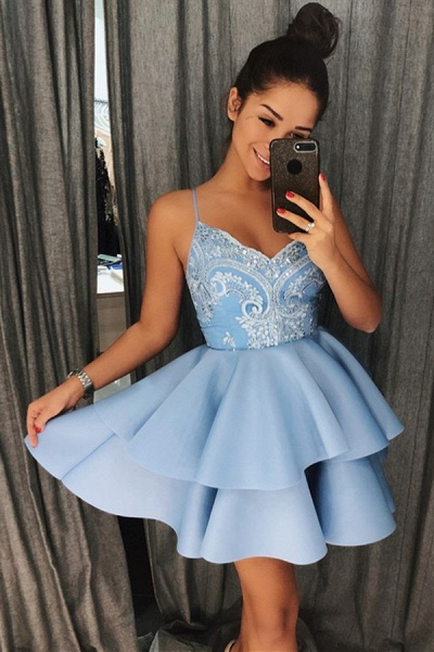 Exquisite Lace Spaghetti-Straps Sleeveless Homecoming Dress_3