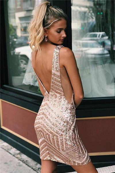 Newly Straps V-Neck Sequins Short Home-Coming Dress_2