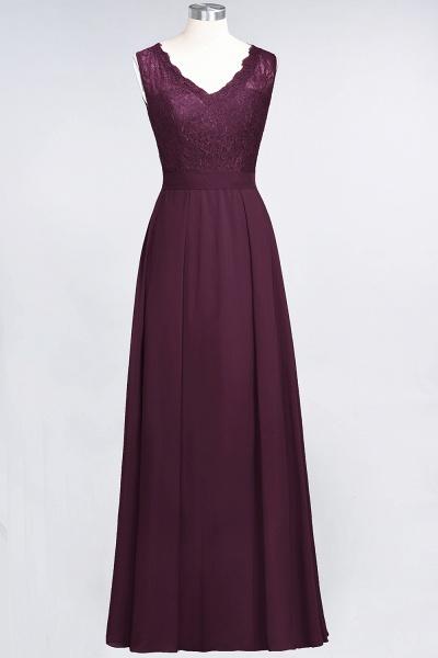 A-Line Chiffon Lace V-Neck Sleeveless Floor-Length Bridesmaid Dress_19