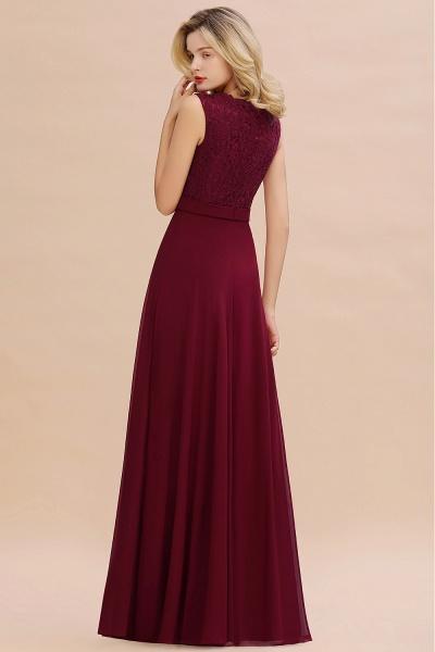 Elegant A-line Chiffon Lace V-Neck Sleeveless Floor-Length Bridesmaid Dress_2
