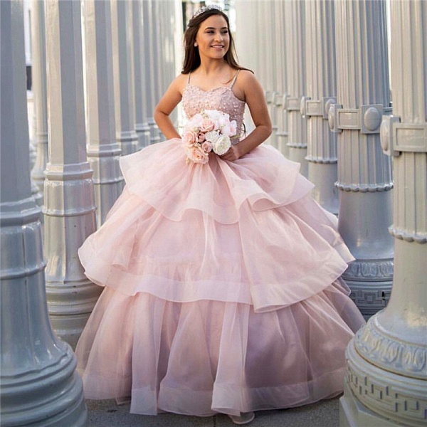 Excellent Spaghetti Straps Organza Ball Gown Quinceanera Dress_1