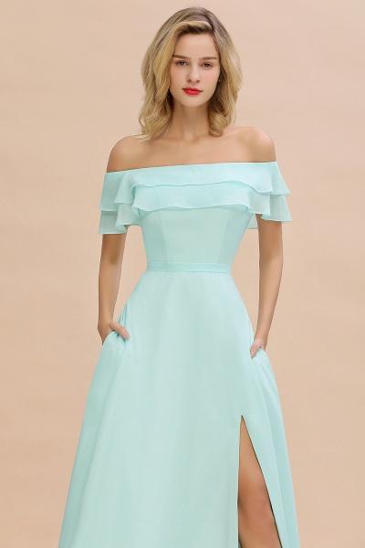 BM0775 Off-the-Shoulder Front Slit Mint Green Long Bridesmaid Dress_55