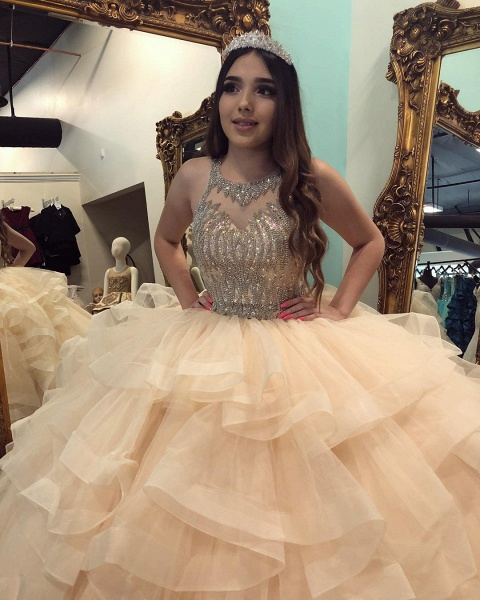 Excellent Jewel Tulle Ball Gown Quinceanera Dress_3
