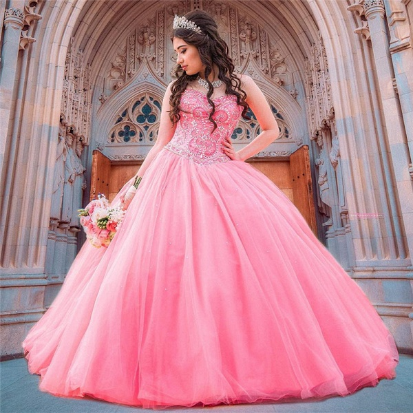 Latest Jewel Tulle Ball Gown Quinceanera Dress_1