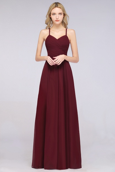 A-Line Chiffon Halter V-Neck Sleeveless Floor-Length Bridesmaid Dress with Ruffles_35