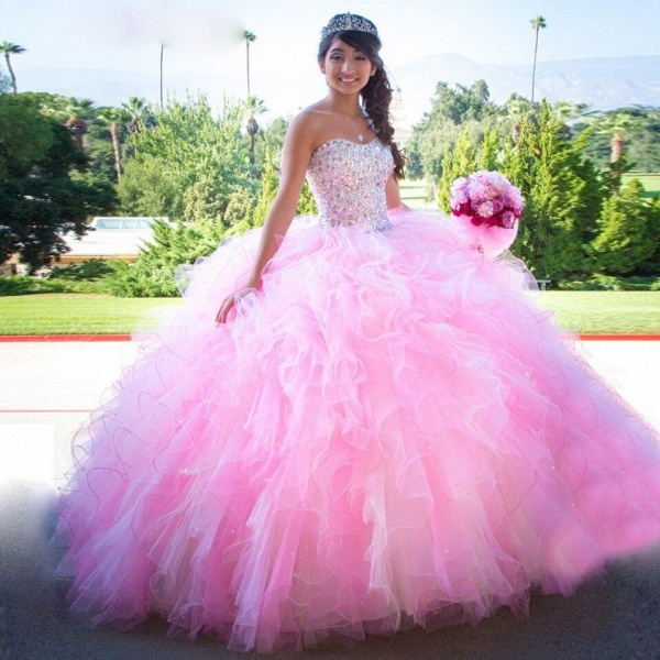 Beautiful Sweetheart Tulle Ball Gown Quinceanera Dress_1