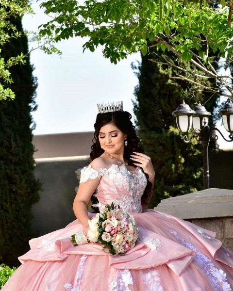 Elegant Off-the-shoulder Tulle Ball Gown Quinceanera Dress_4