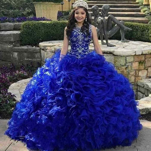Elegant Jewel Tulle Ball Gown Quinceanera Dress_1
