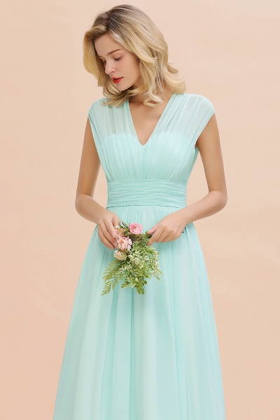 BM0774 Chiffon V-Neck Sleeveless Elegant A-line Ruffles Bridesmaid Dress_55